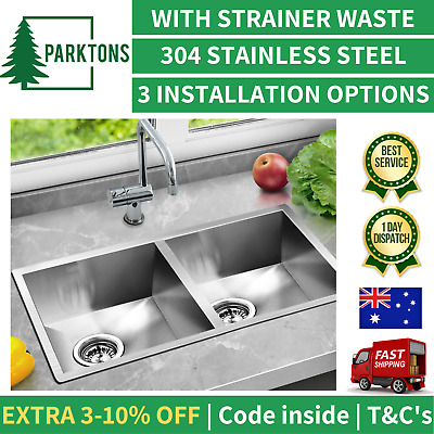 STAINLESS STEEL KITCHEN SINK Laundry Double Square Bowl Sink 770 x 450mm CEFITO