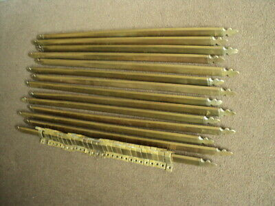 Set Of 14  Vintage  Brass   Stair Rods And    Brackets
