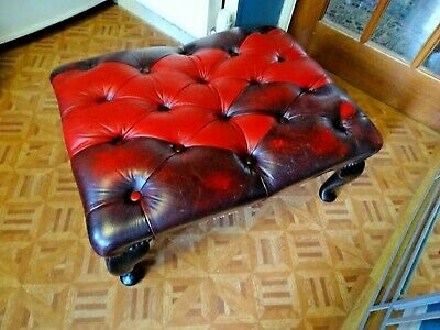 Bespoke Large Size Chesterfield Type Ox Blood & Red Leather Footstool