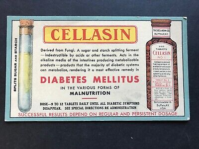 1908 Diabetes Mellitus Cellasin Patent Quack Medicine Ink Blotter-Rare Original
