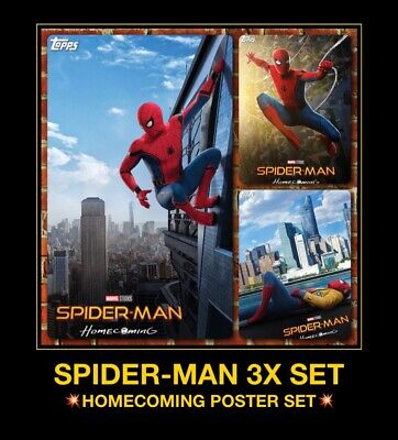 Topps Marvel Collect Digital Trader 3 Card Spider-Man Homecoming Posters SET LOT