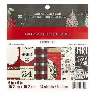 Craft Smith Design-Papierblock 15,2 x 15,2cm (24 Blatt) - North Pole News