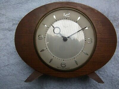 Vintage Smiths 8 Day Art Deco Style Wood Mantle Clock