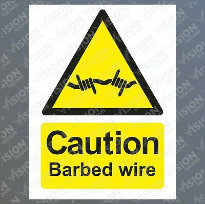 Caution barbed wire Sticker Sign Rigid Plastic Metal Safety Warning Danger