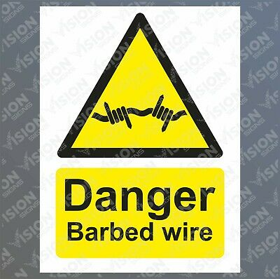 Danger barbed wire Sticker Sign Rigid Plastic Metal Safety Caution Warning