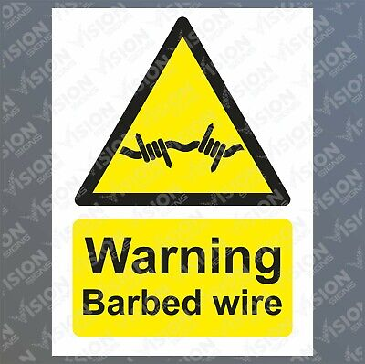 Warning barbed wire Sticker Sign Rigid Plastic Metal Safety Caution Danger