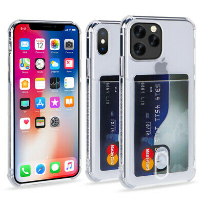 For iPhone 11 Pro Max XS 8 Plus Clear Wallet Credit Card Holder Stand Case Cover