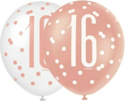 "6 x 12"" Rose Gold 16 Latex Balloons Girls 16th Birthday Party Decoration Helium"