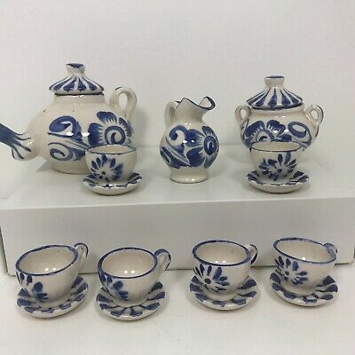 Miniature Tea Set 17 Piece Blue White Floral Children's