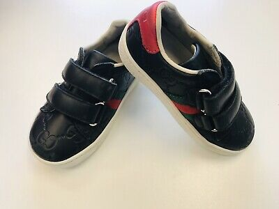 Gucci Ace Black Leather Signature Sneaker Size 22 4.5 US Kids Toddler