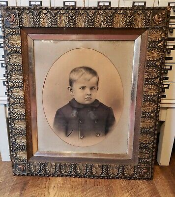 ANTIQUE GOLD WOOD GESSO ORNATE PICTURE LARGE ART PAINTING FRAME 30x34 Victorian