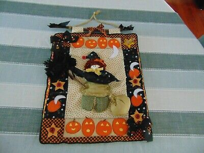 Halloween Hanging Door Wall Sign Witch & Pumpkins 16 1/2D & 12 1/2 A