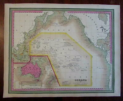 Oceania Australia Wilkes Discoveries Colonial possessions 1848 Mitchell map