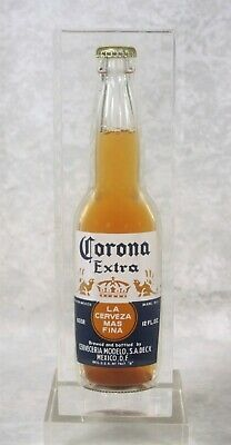 Vintage Corona Extra Beer Glass Bottle Bar Display Encased in Lucite or Acrylic