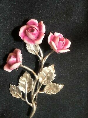 Stunning Antique Victorian 800 silver pink porcelain rose hand crafted brooch
