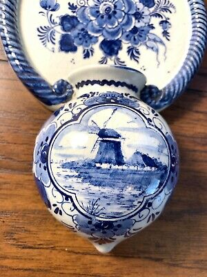 Vintage Norelco Delft Wall Pocket Hand Painted Holland Vase Planter