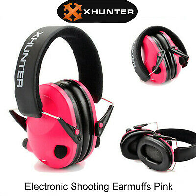 Electronic Shooting Earmuffs Input Jack Foldable Ear Muffs Hunting Pink Xhunter