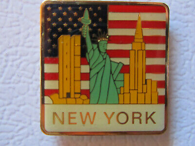 NEW YORK Statue of Liberty TWIN TOWERS Empire State Bldg REFRIGERATOR MAGNET