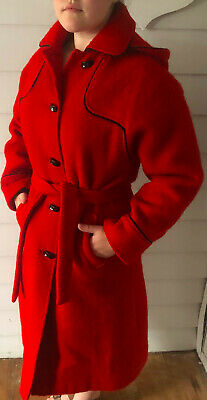 Vintage Hudsons Bay Company Coat 14 XL Red Wool Hooded Jacket 70s Belted