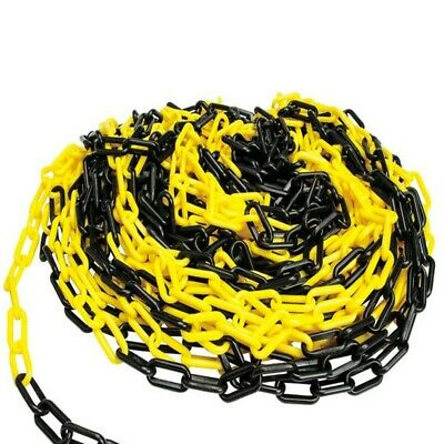 Black and Yellow Plastic Safety Chain 6mm x 25m roll link warning chain OH&S