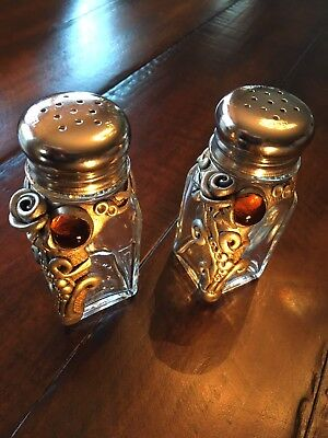 Handcrafted And Decorated Glass Salt And Pepper Shakers - Unique And Wonderful!