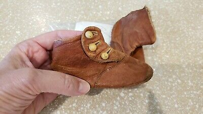Vintage Antique Victorian Leather Baby Shoes Doll Booties 1800's