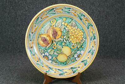 "Antica Ceramica Serving Platter 14 1/2"" Diam. With Fruit Art"