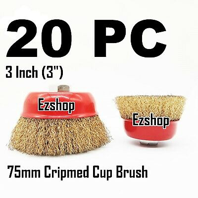 "20 PC 3"" x 5/8"" Arbor FINE Crimped Wire Cup Wheel Brush - For Angle Grinders"