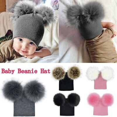 Kids Newborn Baby Boy Girl Winter Warm Double Fur Pom Bobble Knit Beanie Hat Cap