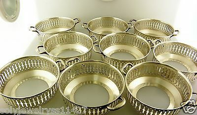 Set of 9 Sterling Silver Bouillon Cup Holders, all Pattern # 2546, 490 gr.
