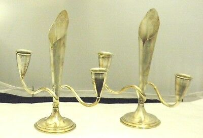 Set of 2 Modern Mexican Sterling Silver Candlesticks Vase Center Pieces