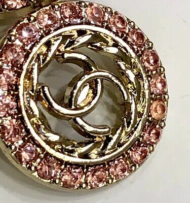 CHANEL CC BUTTON 23mm 1 Inch PINK RHINESTONE Set In Gold Tone.