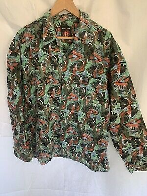 HANG TEN vintage 1980's long sleeve button up party retro surf shirt size XXL