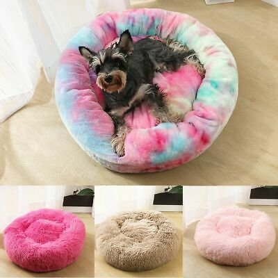 Warm Pet Dog Cat Calming Bed Soft Plush Round Cute Nest Comfortable Sleeping AU