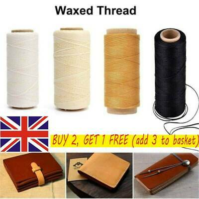 30m/roll Waxed Thread Cotton Cord String Strap for Leather Handicraft Tool UK