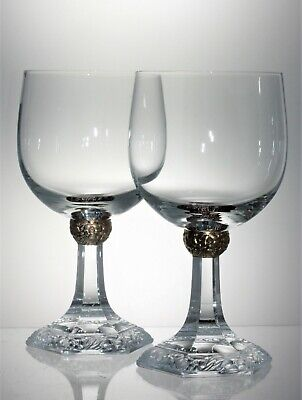 Pair Crystal Panel Cut Gilt Knop Stem & Embossed Floral Foot Wine Glasses 250 ml