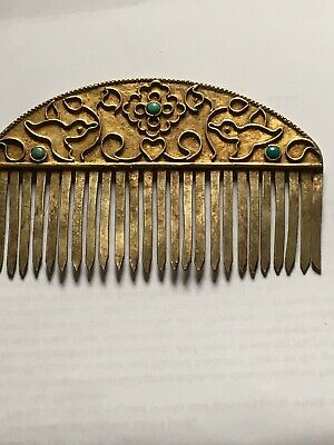 Beautiful Antique Metal Hair Slide Decorated  With Turquoise Stones