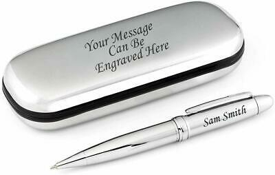 Personalised Sturdy Stainless Steel Ballpoint Pen Engraved + S.Steel Gift Box