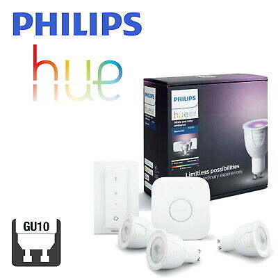 Philips Hue White and Colour Bulb GU10 Starter Kit