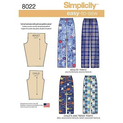 Simplicity Sewing Pattern 8022 Child's, Teens' & Adult Trousers