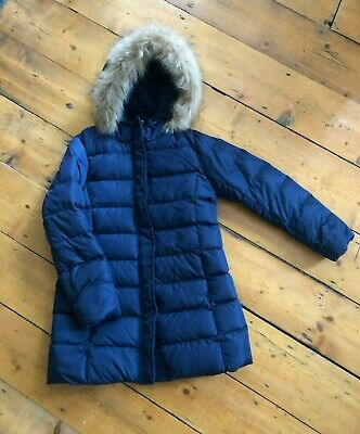 UNIQLO Navy Girls Padded Coat with hood and faux fur, size 9-10 years