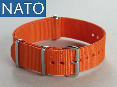 BRACELET MONTRE NATO 18mm orange chronograph military watch mechanical strap