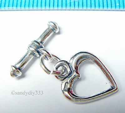 1x OXIDIZED STERLING SILVER SWEET HEART TOGGLE CLASP 11.3mm N736