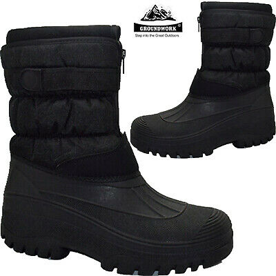 Mens Waterproof Winter Snow Boots Thermal Mucker Wellingtons Warm Lined Boots