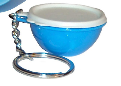 Tupperware Thatsa Bowl White & Blue Keychain Holds Quarters or Pills New
