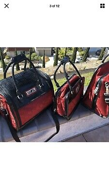BRIGHTON Black Red Leather Luggage--3 Bags!