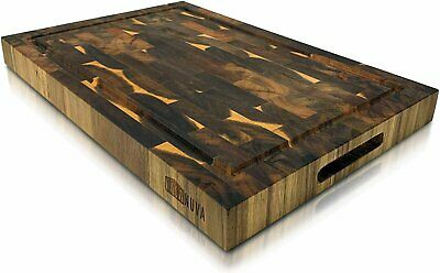 "Extra Large Wood Cutting Board 18"" x 12"" Thick Butcher Block Board"
