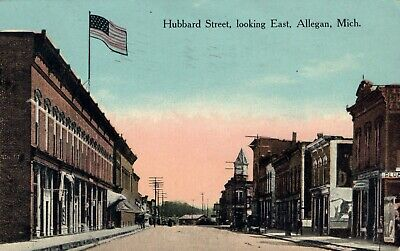 Hubbard Street Looking East Allegan Michigan  MI Postcard