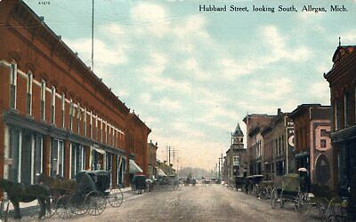 A1670 Hubbard Street Looking South Allegan Michigan  MI Postcard