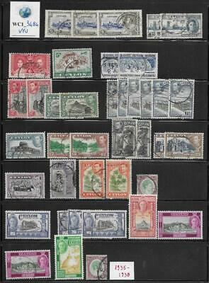 WC1_3484 BRITISH COLONIES. CEYLON. Dealer stock valuable 1935-1938 stamps. Used
